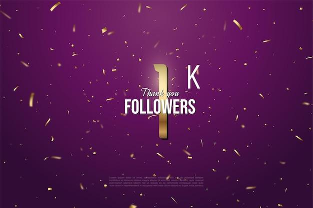 1 k suiveur avec numéro d'or