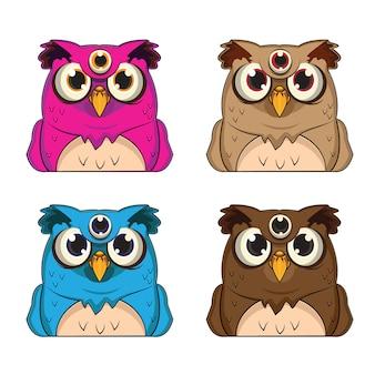1 série d'avatars d'animaux avec 4 thèmes de hibou