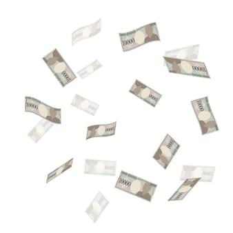 10 000 yens volant dans les airs