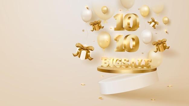 10.10, arrière-plan de la grande vente, podium avec boîte-cadeau et ballons, ruban doré. concept de luxe. illustration vectorielle 3d.