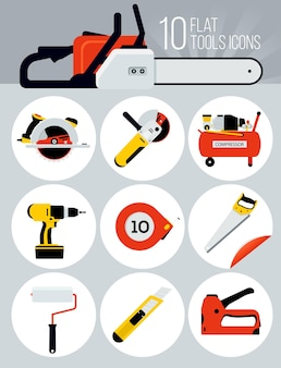 10 icônes d'outils plats