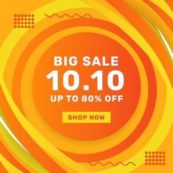 10 octobre grande vente offre promotion bannière vente publicité modèle de publication sur les médias sociaux avec fond orange décoratif