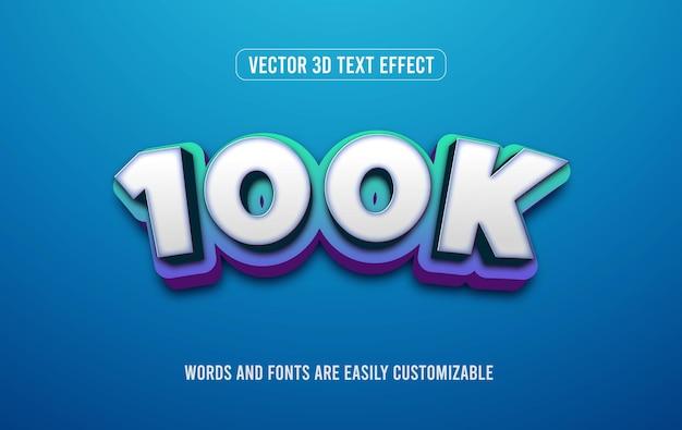 100 000 abonnés style d'effet de texte modifiable en 3d