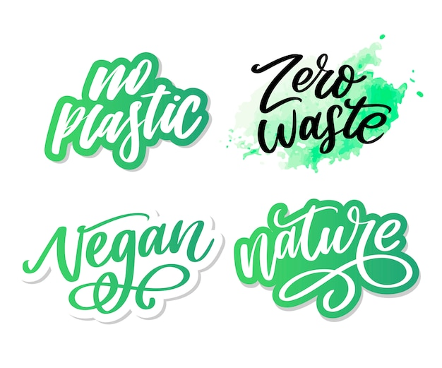 100 autocollants de lettrage vert naturel avec calligraphie au pinceau. concept écologique pour autocollants, bannières, cartes, publicité. écologie nature.