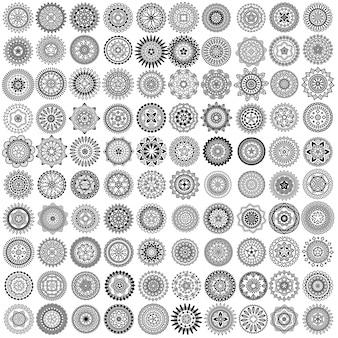100 cercles de mandala de vecteur noir