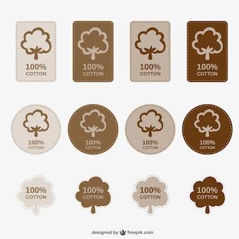 100% de coton étiquettes emballent