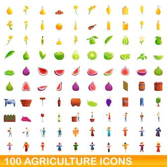 100 icônes agricoles définies. bande dessinée illustration de 100 icônes agricoles définies isolées