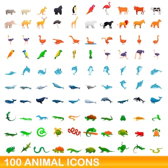 100 icônes animales définies, style cartoon