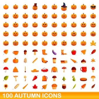 100 icônes d'automne définies. bande dessinée illustration de 100 icônes d'automne ensemble de vecteurs isolé sur fond blanc