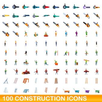 100 icônes de construction définies. bande dessinée illustration de 100 icônes de construction vector set isolé sur fond blanc