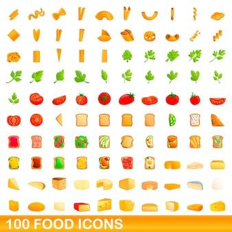 100 icônes de nourriture définies. bande dessinée illustration de 100 icônes alimentaires définies isolé sur fond blanc