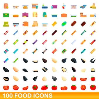 100 icônes de nourriture définies. bande dessinée illustration de 100 icônes alimentaires set vector isolé sur fond blanc