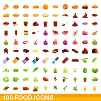 100 icônes de nourriture définies. bande dessinée illustration de 100 icônes de nourriture définies isolées