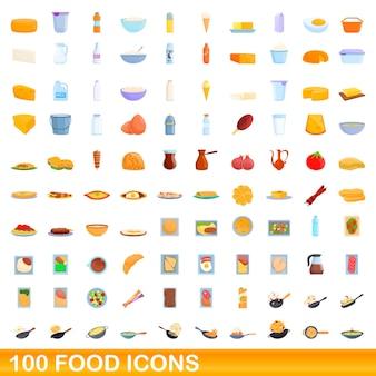 100 Icônes De Nourriture Définies. Bande Dessinée Illustration De 100 Icônes De Nourriture Définies Isolées Vecteur Premium