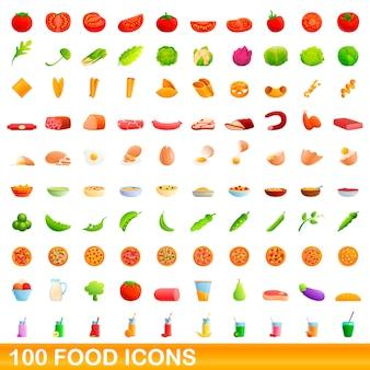 100 icônes de nourriture définies, style cartoon