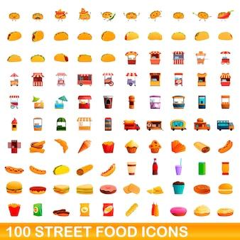 100 icônes de nourriture de rue définies. bande dessinée illustration de 100 icônes de nourriture de rue isolées