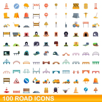 100 icônes de route définies. bande dessinée illustration de 100 icônes de route définies isolées