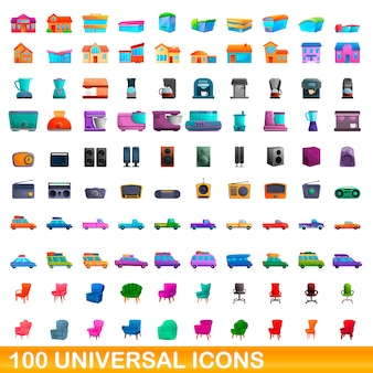 100 icônes universelles définies, style cartoon