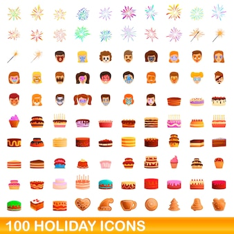 100 icônes de vacances définies. bande dessinée illustration de 100 icônes de vacances définies isolées