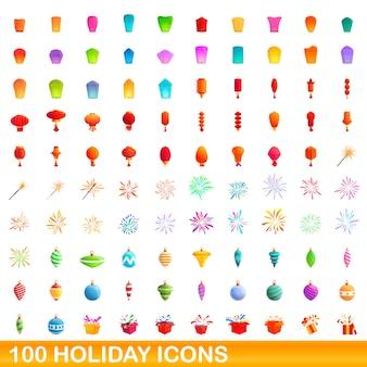 100 icônes de vacances définies. bande dessinée illustration de 100 icônes de vacances ensemble de vecteurs isolé sur fond blanc
