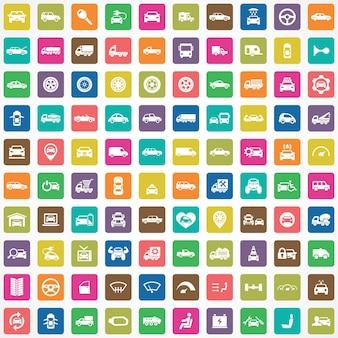 100 icônes de voiture grand ensemble universel