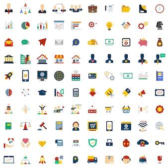 100 jeu d'icônes de l'entreprise