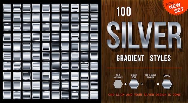100 styles de dégradé d'argent vectoriel