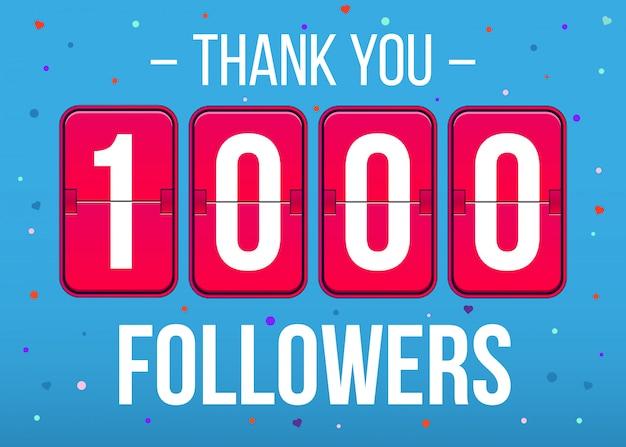 1000 abonnés abonnés, merci bannière de carte.