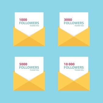 1000 abonnés, lettres de remerciement carte avec enveloppe