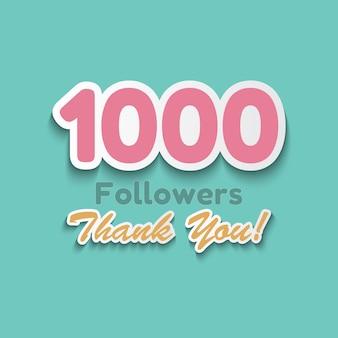 1000 abonnés, merci bannière pour les amis des médias sociaux.