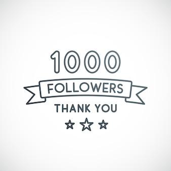 1000 abonnés merci conception vectorielle