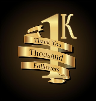 1000 abonnés avec merci avec ruban d'or