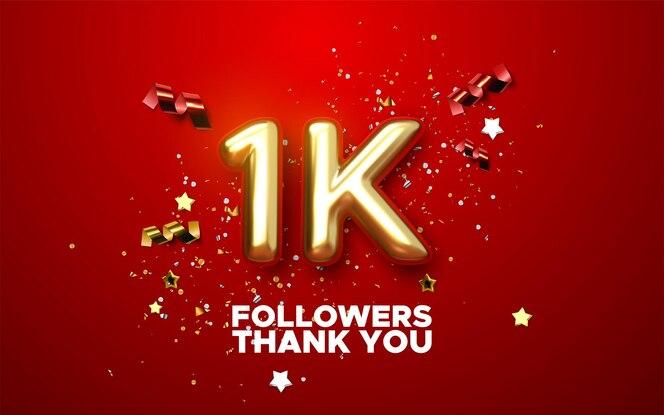 1000 abonnés signent avec signe d'or et confettis de conception de bannière de médias sociaux