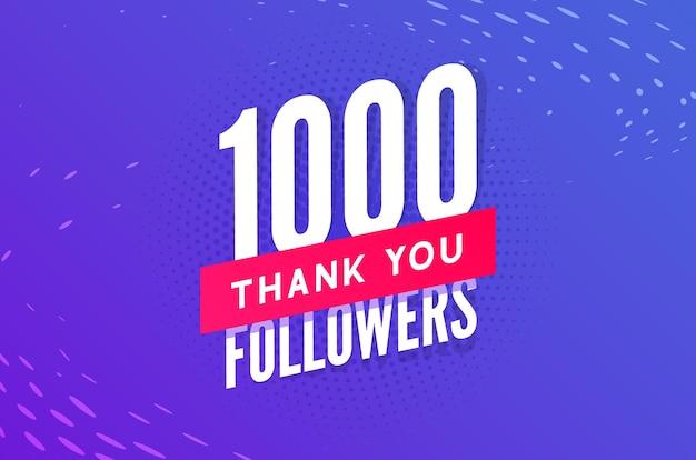 1000 abonnés vecteur carte sociale de voeux merci aux abonnés