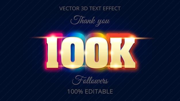 100k effet de texte 3d design créatif