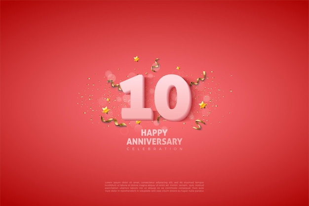 10e anniversaire avec chiffres et petites étoiles sur fond rose