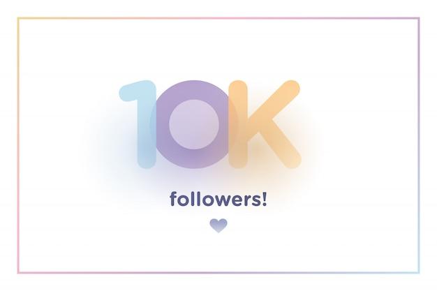 10k ou 10000, les adeptes vous remercient nombre d'arrière-plan coloré avec ombre douce