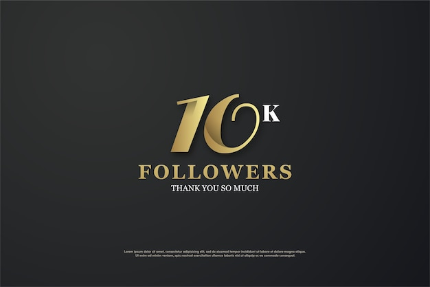 10k abonnés ou abonnés avec des chiffres élégants en or et blanc.
