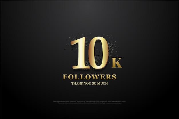 10k abonnés ou abonnés avec d'élégants numéros d'or doux.