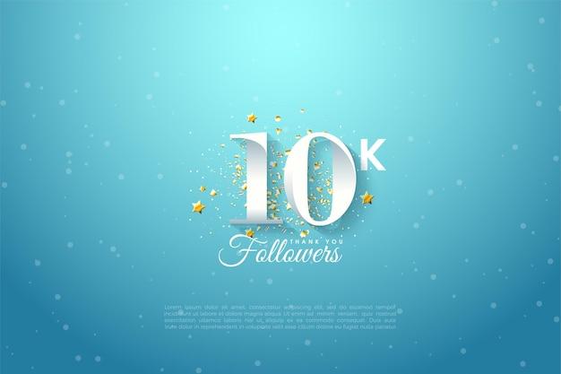 10k fond suiveur avec des illustrations numériques au-dessus du ciel entouré d'étoiles dorées.