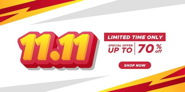 11.11 bannière d'affiche de promotion de remise de jour de magasinage pour célibataire annonçant la grande vente finale avec texte 3d