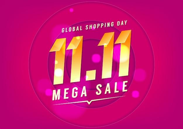 11.11 conception d'affiche ou de dépliant de vente de jour de magasinage.