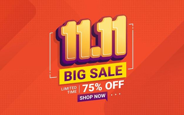 11 11 conception de modèle de bannière de grande vente pour les médias sociaux et le site web