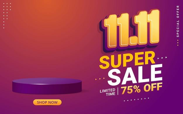 11 11 conception de modèle de bannière de vente de jour de magasinage avec scène de podium de produit vierge