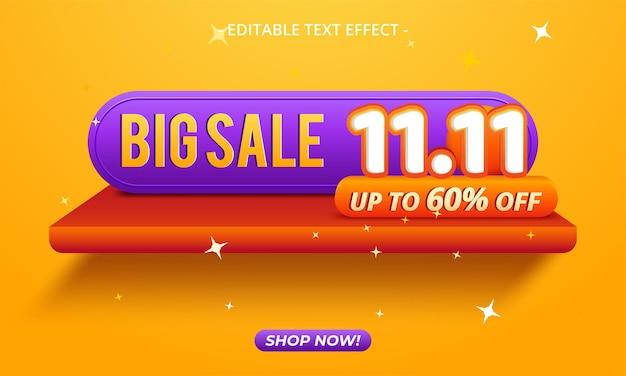 11.11 fond de bannière de vente de jour de magasinage