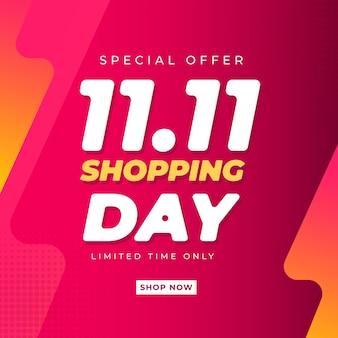11 11 modèle de bannière de journée de magasinage pour célibataires cellebrations des achats en ligne