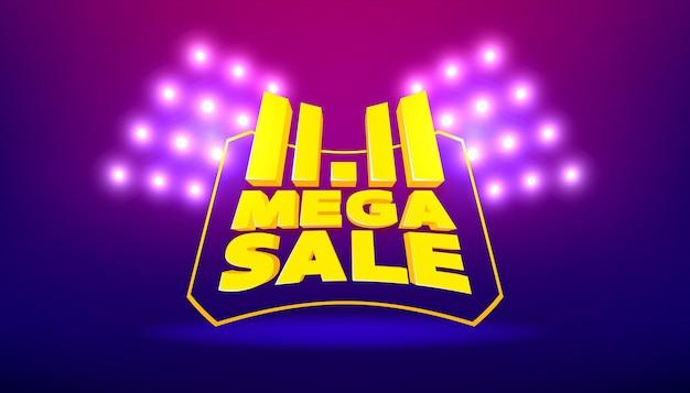 11.11 modèle de bannière de vente méga. bannière de vecteur de remise du 11.11 vente de la journée mondiale du shopping.