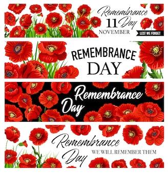 11 novembre bannières du jour du souvenir