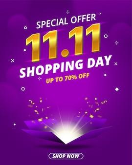 1111 bannière de vente de jour de magasinage avec modèle de conception de boîte ouverte