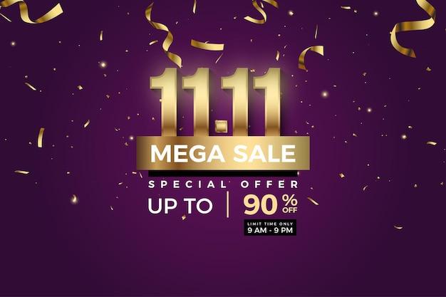 1111 fond de vente avec des chiffres et des rubans d'or tombant